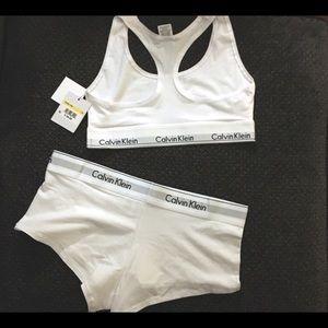 4beb352a83ed0 Calvin Klein Intimates   Sleepwear - Calvin Klein White Matching Bra   Panty  Set NWT